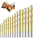 7 16 titanium drill bit - Luckyway 14-Piece Titanium Twist Drill Bit Set, 1/16