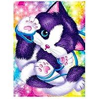 油絵 数字キットによる絵画 塗り絵 大人 手塗り 猫の動物 DIY絵 デジタル油絵 40x50cm (diyの木製フレーム)