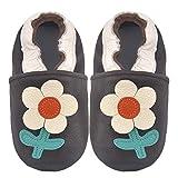 BAOLESEM Zapatillas de piel para bebé con suela de ante para bebés, color Negro, talla 0-6 meses