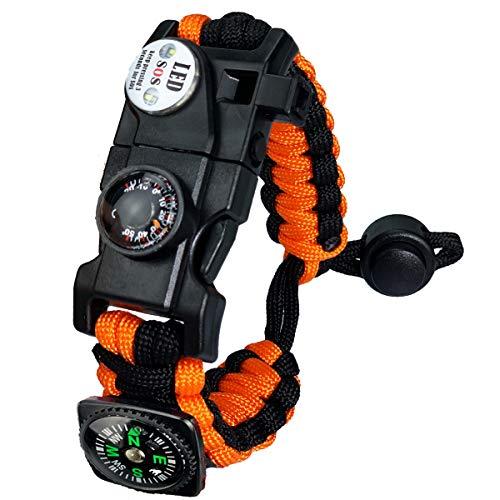 Bracelet Paracorde Survie pour Homme Femme, Militaire Paracord Bracelet Kit avec Flint + Boussole + Thermomètre + Sifflet + Lumière LED pour Extérieur, Randonneur, Baroudeur, Explorateurs (Orange)