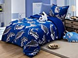 All American Collection New Super Soft and Warm 3 Piece Borrego/Sherpa Blanket with Pillow Sham and Cushion (Twin, Shark)