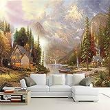 Fototapete Eigene 3d Vliestapete Wand 3d Wandbilder Tapete Thomas Europäische Landschaftsmalerei Hütte Hintergrundwand,Größe:450X300CM