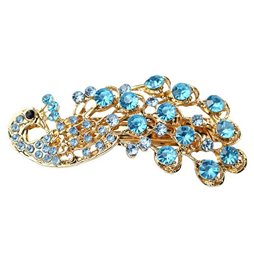 Women's Vintage Crystal Peacock Hair Clip Head Wear