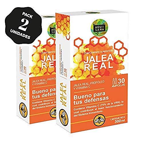 Aquisana Jalea real con propóleo para mayor energía y vitalidad con própolis y vitamina C - 60 ampollas, Pack de 2 Unidades