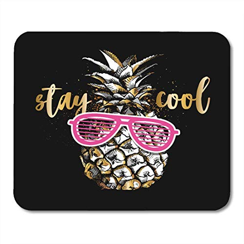 AOHOT Mauspads Silver Golden Gold Pineapple in Pink Grille Glasses Yellow Cute Leaf Mouse pad 9.5