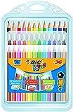 BIC Kids Set para Colorear - 12 rotuladores/12 Lápices para Colorear/12 Ceras, colores Surtidos, Estuche de 36 unidades