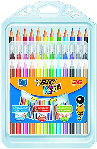 BIC Kids Set Para Colorear, 12 Rotuladores, 12 Lápices de Colores, 12 Ceras, Colores Surtidos, Paquete de 36 Unidades
