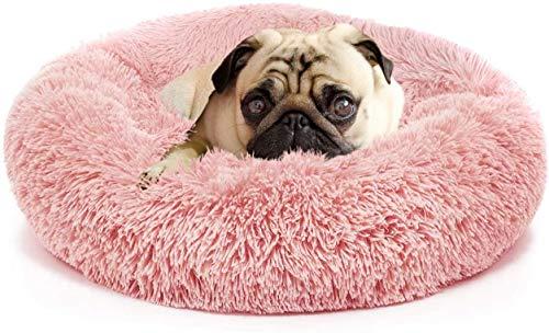 Wuudi Haustier Katzenbett Hundebett Katzenhöhle Katzenhaus Plüsch Donut Katzensofa Hundesofa, waschbar, rutschfest Geeignet für Katzen und Hunde 50cm (Rosa)