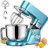Impastatrice Planetaria, POWWA 1500W 6.2Litri Robot da Cucina con ciotola di acciaio inossidabile, frusta, gancio per impastare, frusta per dolci, lavabile in lavastoviglie (blu)
