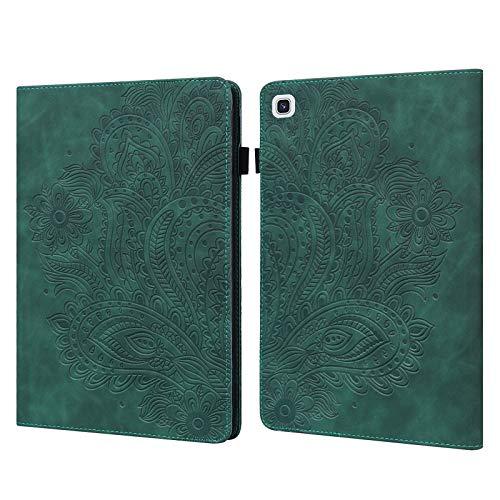 C/N DodoBuy - Funda para Samsung Galaxy Tab A7, diseño de flor de pavo real en relieve con tapa magnética, función atril, ranuras para tarjetas, color verde negruzco