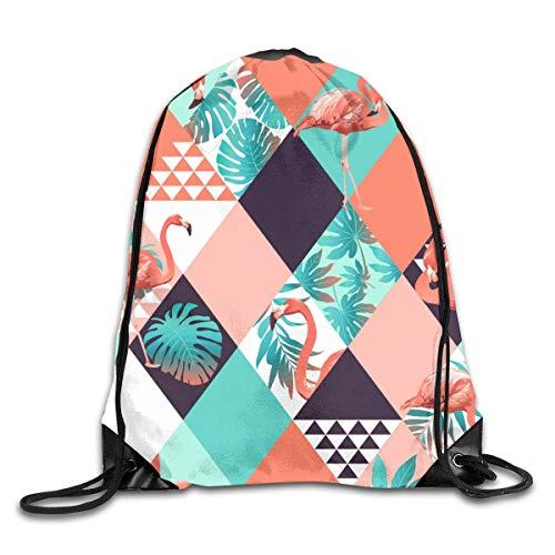 shenguang Flamingo Palm Leaf Stripe Mochila Deportiva con cordón Gimnasio Yoga Sackpack Bolsa de Cuerda Bolsa de Almacenamiento de Viaje para Mujeres y Hombres Adecuado para la Escuela Natació