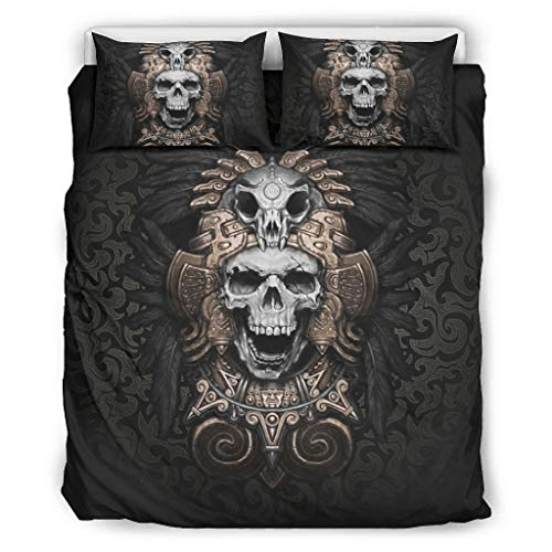 Generic branded viking skull Duvet Cover Sets 3 Pcs Polyester/Cotton Bedding Set Ultra Soft Printed Duvet Cover Sets With Matching Pillowcase for bed King Easy Care white 90x90 inch