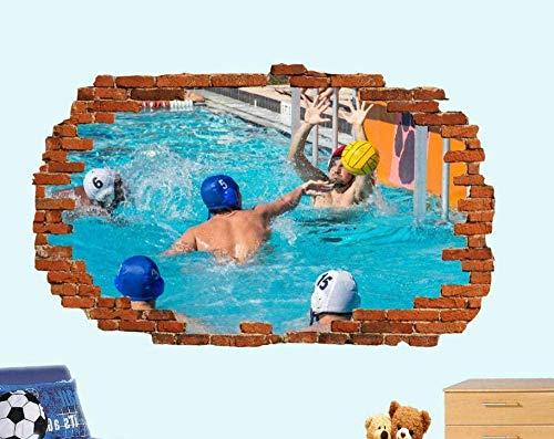 Wandaufkleber Wandtattoos,Moderne Wanddekoration Schlafzimmer Wohnzimmer Tapete Schwimmbad Wasserball 3D-Effekt Kunst Poster Raumdekoration Aufkleber Wandbild-50 × 70cm