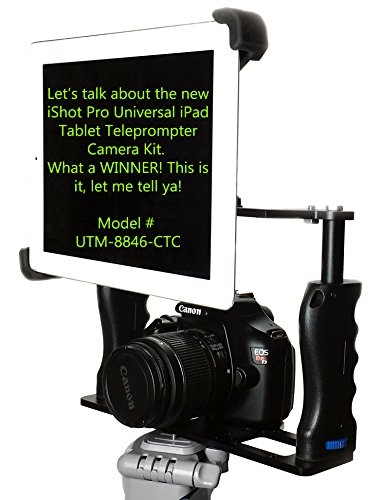 iShot G10 Pro Large Universal 360° Adjustable iPad Pro Surface Tablet Premium Teleprompter Camera Cage Kit + Free Smartphone Mount Clip - Works with All Camera Tripods Fits iPad Pro 9-13 inch Tablets