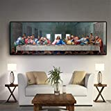 Refosian Fashion Canvas Painting La última cena de Leonardo Da Vinci Famoso cartel de pintura al óleo e impresiones Cuadros de pared para sala de estar Cocina Sala Sin marco Pintura de lienzo (T