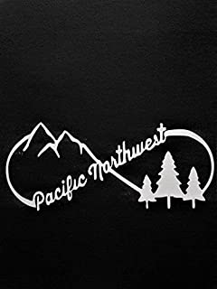 Chase Grace Studio Pacific Northwest PNW Bigfoot Hiking Mountains Vinyl Decal Sticker|WHITE|Cars Trucks Vans SUV Laptops Walls Glass Metal |7.5