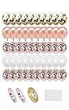 Globos de Confeti Rosa Oro 50 Globos Metalizados Oro Rosa y Blancos Helio Globos, Latex Globos de Cumpleaños para Cumpleaños Fiestas Bodas Comunion Arco y Otras Celebraciones