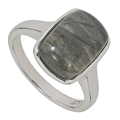 Harry Ivens Solitär Damen-Ring Sterling-Silber 925 rhodiniert Labradorit RW18