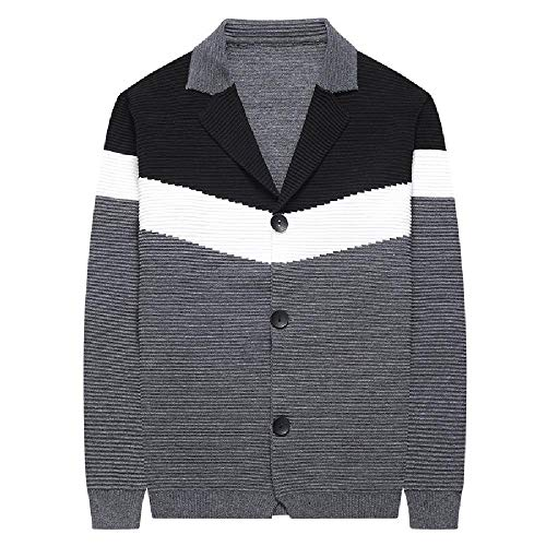 U/A - Sudadera para hombre con rayas en contraste negro, gris M