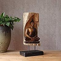 装飾タイの仏像座っている仏シャキヤムニ木彫りの手工芸品の大きいデスクトップの手彫り仏像工芸の飾り装飾工芸品 ZHYGDQ
