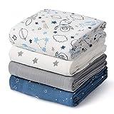Momcozy Paquete de 4 Cobertores para Bebés con Patrón del universo, 120 * 120 cm, 70% de Bambú, 30% de Algodón en las Mantas para Bebés, Manta Suave para Dormir para el Bebé