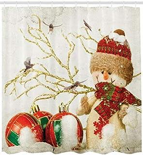 ABAKUHAUS Kerstmis- Douchegordijn, Kleurrijke Jolly Times, stoffen badkamerdecoratieset met haakjes, 175 x 200 cm, Veelkle...