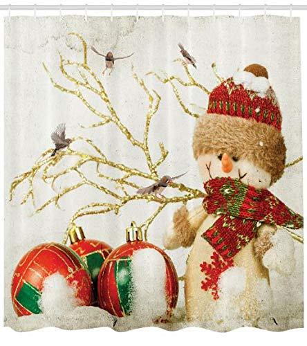 ABAKUHAUS Navidad Cortina de Baño, Muñeco de Nieve Estilo Desgastado Diseño con Accesorios Coloridos, Material...