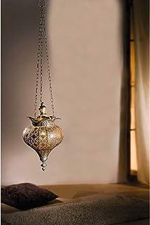 PierSurplus Antique Silver Oriental Metal Hanging Pendant Light Candle Lantern - Small Product SKU: CL221834