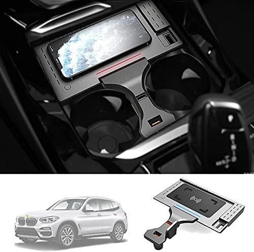 SXZHSM Montaje de Cargador inalámbrico para automóviles para BMW X3 / X4 2019 2020 2021, Salida de Cargador de Coche inalámbrico de 1 5W QC 3.0 Carga rápida Compatible con iPhone, Samsung, USB Puerto