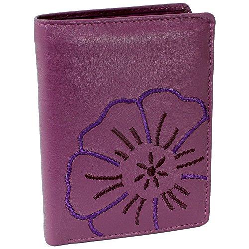 Branco Leder Geldbörse Portemonnaie Damenbörse Damen Geldbeutel Lila/Berry - sehr hochwertig - Hochformat