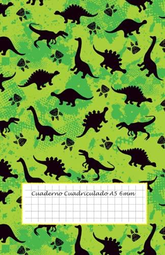Cuaderno Cuadriculado 6mm A5: cuadricula 6x6 - 50 hojas - 100 páginas - cuaderno cuadriculado sin espiral - cuaderno cuadriculado pequeño - cuaderno ... libreta bonita pequeña - libreta dinosaurios