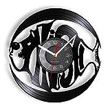 ROMK Reloj de Pared Ocean Fish Accent Disco de Vinilo Reloj de Pared Barracuda Relojes Reloj Colgante Decoración del hogar Álbum Marino Registro para Acuario acuático