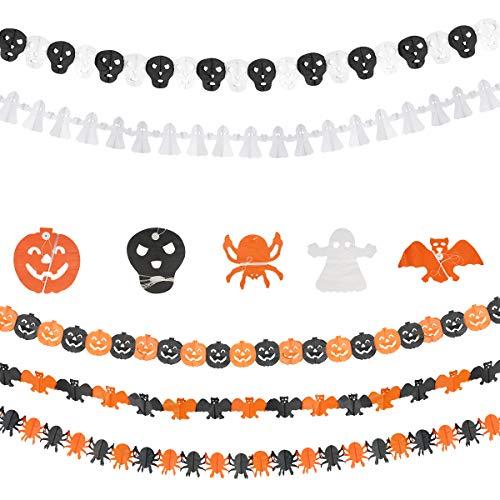 Herefun 5 Stück Happy Halloween Banner, Kürbis, Geist, Fledermaus, Spinne und Schädel Banner, Halloween Deko Set für Halloween Indoor Outdoor Party Dekoration, Halloweenparty für Kinder (A)