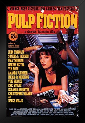 Pyramid America Pulp Fiction Uma Thurman Smoking Black Wood Framed Movie Poster 14x20