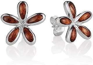Sterling Silver Koa Wood Hawaiian Plumeria Stud Earrings