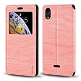 Wiko Rainbow Lite 4G Case, Wood Grain Leather Case with