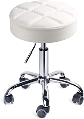 The Chair House - Swivel Stool Adjustable Height Rolling Stool Functional Working Stool Studio Stool in Modern Design White (seat 35cm)