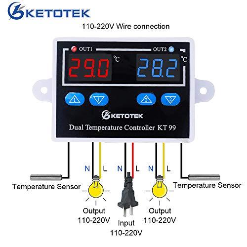 KETOTEK Zweifacher Heizung und Kühlung Temperaturwächter LED-Anzeige Temperaturregler Thermostat Kühlschrank/Gewächshaus/Aquarium Thermostatregler mit fühler 10A DC 24V Direktausgang