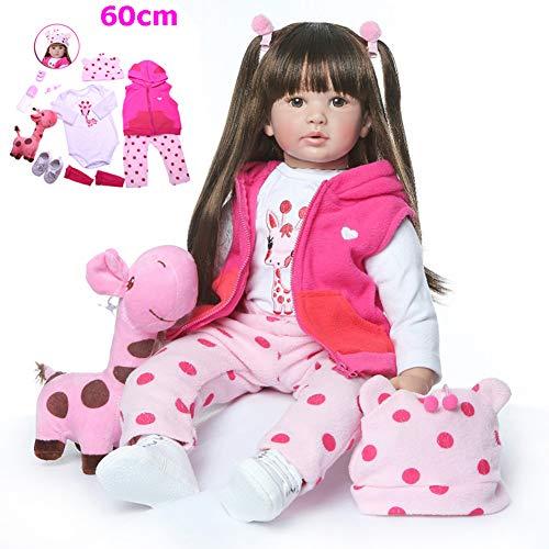 Zaoyun Fashion 60CM Brown or Golden Hair hohe qualität wiedergeborenes Kleinkind Prinzessin mädchen Puppe Silikon Vinyl entzückende Lebensechte Baby Bonecas Bebe Puppe wiedergeboren (Braunes Haar)