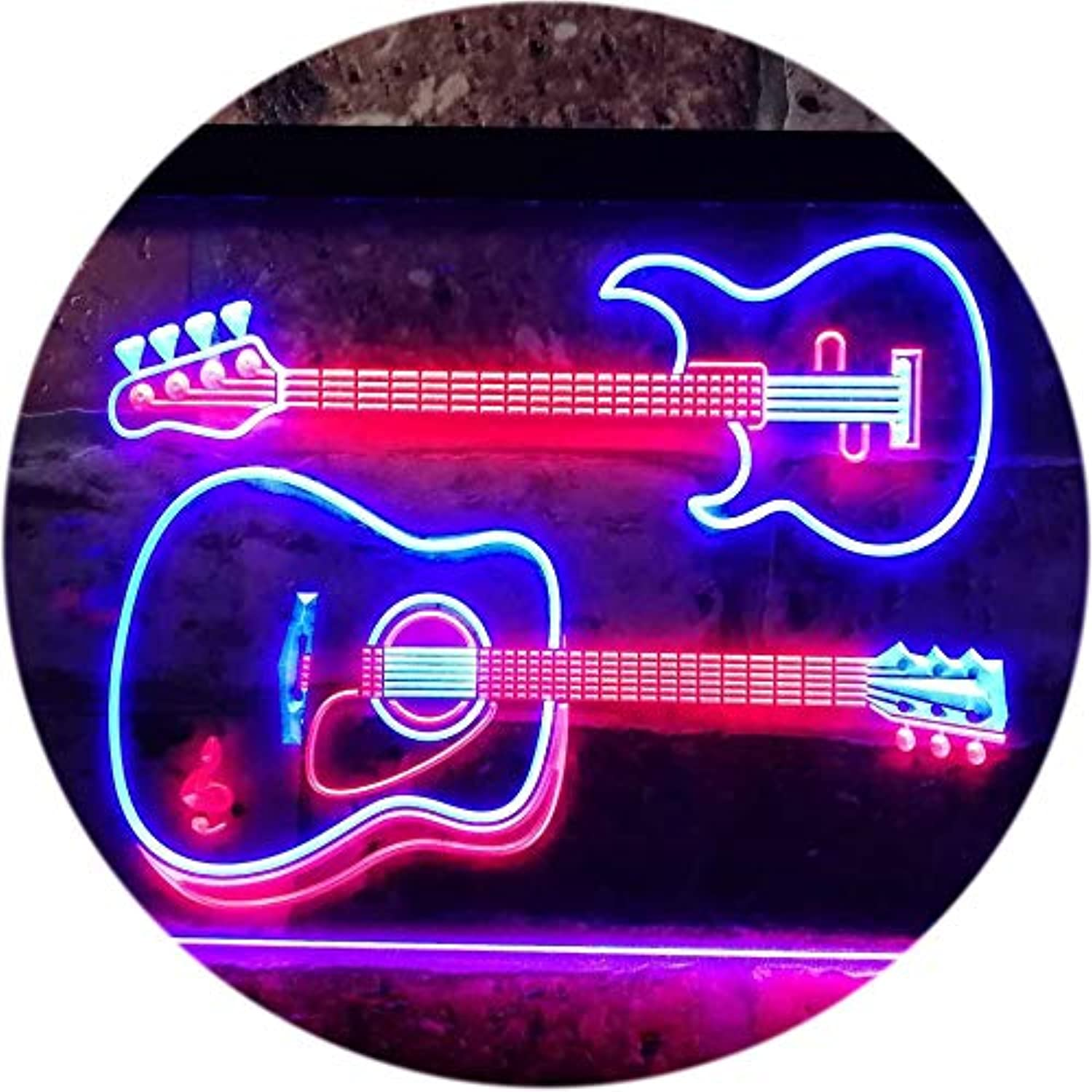 ADVPRO Guitar Electronic Acoustic Music Room Dual Farbe LED Barlicht Neonlicht Lichtwerbung Neon Sign rot & Blau 400mm x 300mm st6s43-m0014-rb