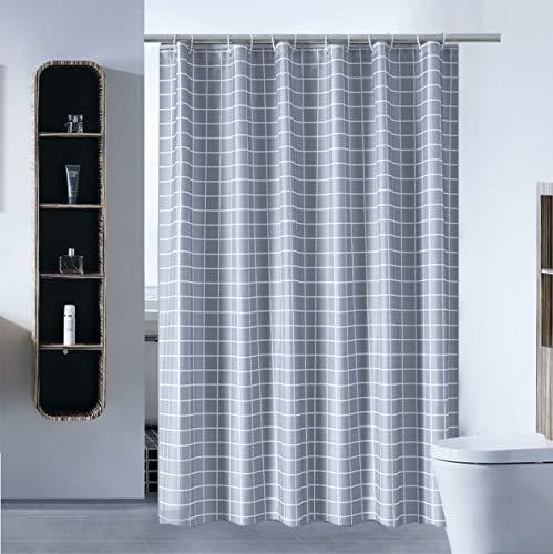 S·Lattye Luxus Duschvorhang-Einsatz für Badezimmer, wasserabweisend, schimmelresistent, waschbarer Stoff (Hotelqualität, umweltfre&lich, schwerer Saum) mit weißen Kunststoffhaken 72