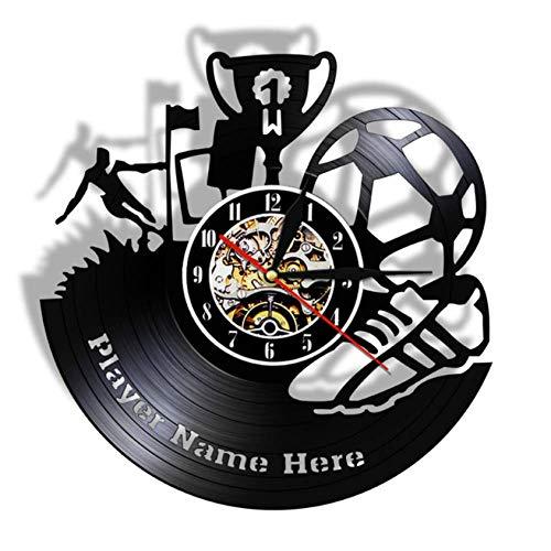 Orologio da Parete in Vinile Calcio Trofeo Muro Vinile Orologio da Parete Squadra di Calcio Campione di Sport Fan Regalo Vinile da Parete Arte Scarpe da Calcio Decorazione da Parete 30CM Io480