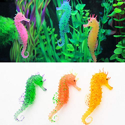 donau 3Pcs Artificial Aquarium Seahorse Ornament Small Silicone Sea Horse Glow in The Dark Fish Tank Decoration