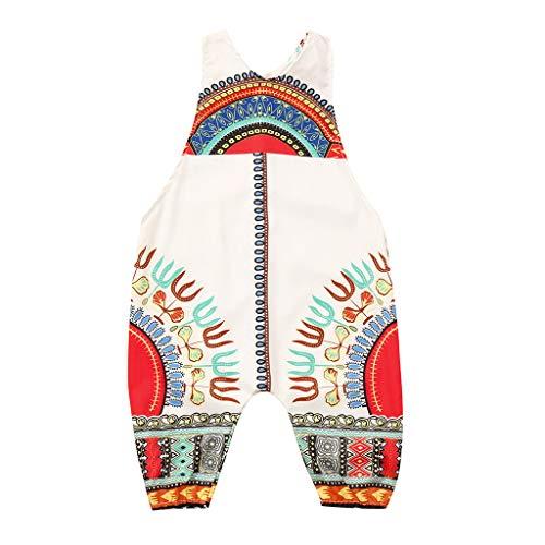 Julhold Kleinkind Kind Baby Mädchen Mode Lässig Afrikanischer Druck Ärmellos Strampler Haarband Overall Kleidung 0-4 Jahre