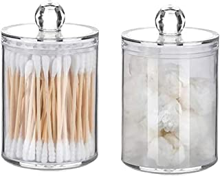 kllerdian Bathroom canisters,15-Ounce Small Clear Plastic Apothecary Jars with lids for Cotton Swabs, Rounds, Balls, Makeu...