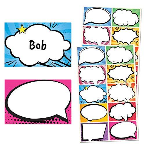 Superheld Comic Namensschilder Aufkleber Etiketten- 7,5 x 5cm, 10 Farben, 250 Stücke