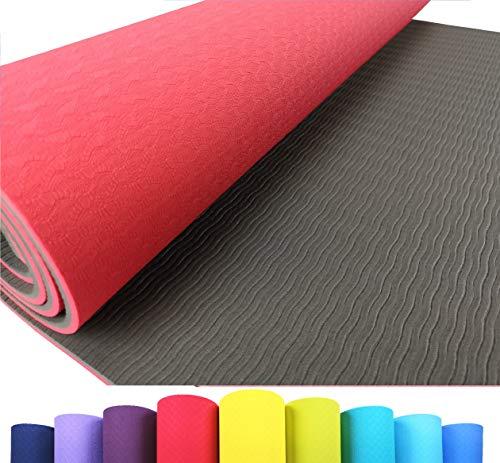Iseaa Fitness tappetino da yoga, rosso/grigio