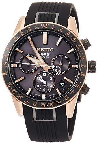 [セイコーウォッチ] 腕時計 アストロン 第3世代 ソーラーGPS チタンモデル 黒文字盤 サファイアガラス ローズゴールドダイヤシールド シリコンバンド SBXC006 メンズ ブラック