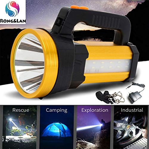 Super Bright Rechargeable Bright Rechargeable LED Spotlight, Multi Function Outdoor Camping Lantern Flashlight, Power Bank, Waterproof LED Searchlight with, for Hiking Fishing,10000mah 120W Power