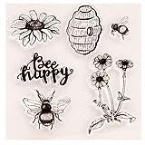 Sidney Remarkable New Flowers Cake Biene Happy Silikon Clear Stempel Transparent Gummi Stempel DIY Scrapbooking Craft Einheitsgröße Bee Happy